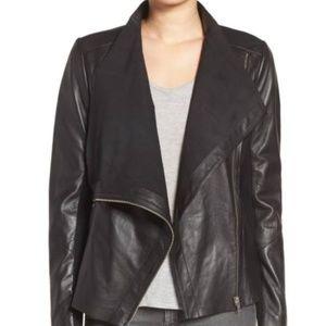 Trouve Drape Front Raw Edge Leather Jacket